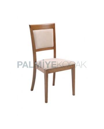 Açık Eskitme Krem Döşemeli Restoran Sandalyesi