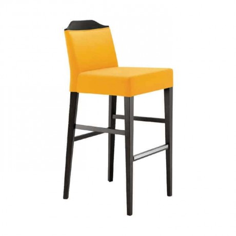 Bar Wood Chair with Yellow Fabric - abs57