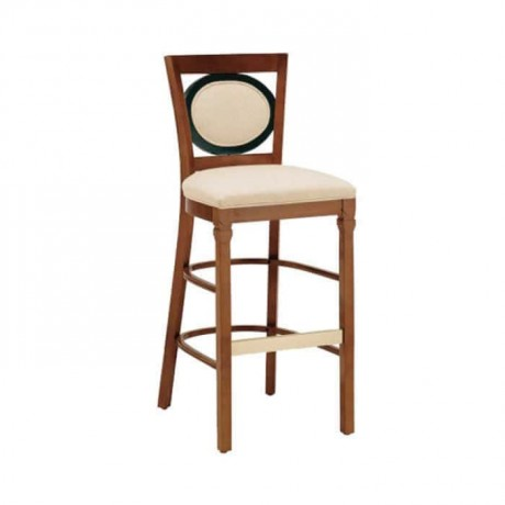 Beige Leather Wooden Bar Chair - abs37