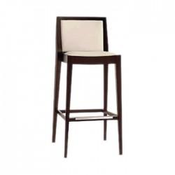 Beige Leather Modern Bar Chair