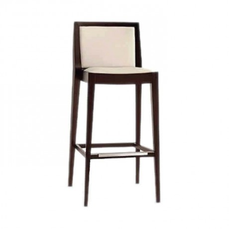 Beige Leather Modern Bar Chair - abs07