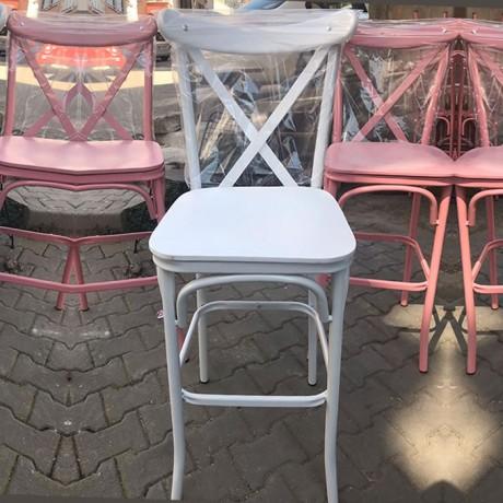 Beyaz Metal Tonet Bar Sandalyesi - ths9073