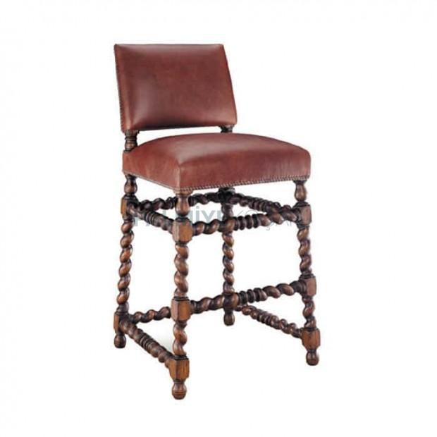 Twist Leg Wooden Bar Chair