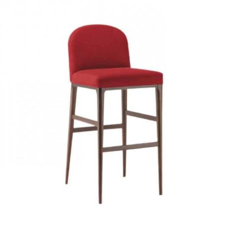 Red Fabric Retro Leg Bar Chair - abs17