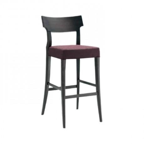 Modern Wooden Bar Chair with Plum Fabric - abs13