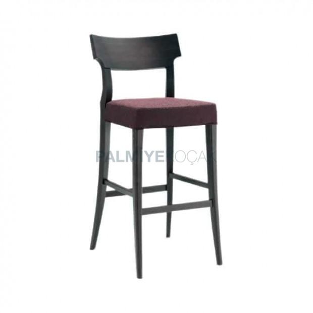 Modern Wooden Bar Chair with Plum Fabric