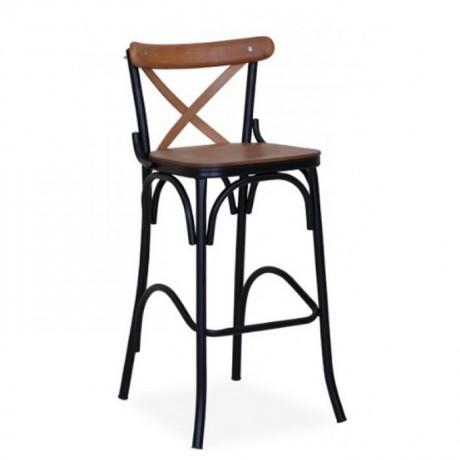 Siyah Ayaklı Metal Tonet Bar Sandalye - ths9072