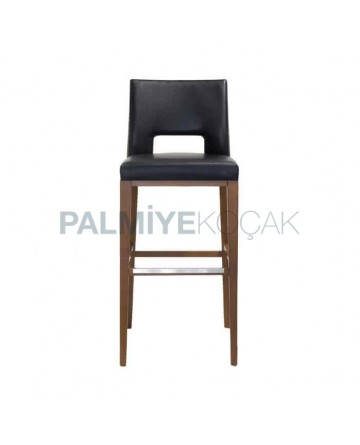 Modern Bar Chair with Black Leather