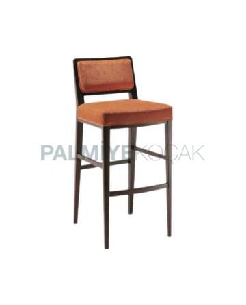 Modern Wooden Bar Chair with Orange Fabric