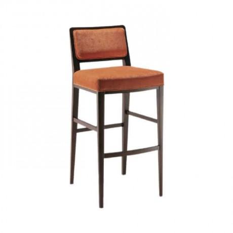 Turuncu Kumaşlı Modern Ahşap Bar Sandalye - abs16