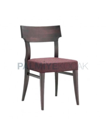 Ahşap Ceviz Renkli Mürdüm Kumaşlı  Restoran Sandalyesi