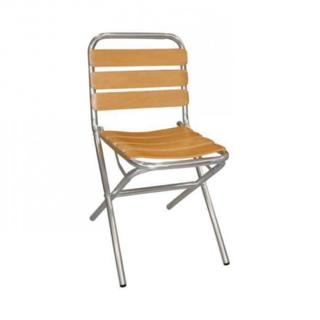 Wooden Stick Folding Aluminum Chair - alb06