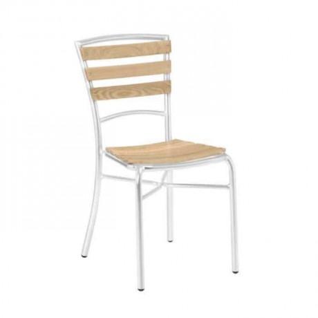 Ahşap Çıtalı Kolsuz Alüminyum Sandalye - alg23