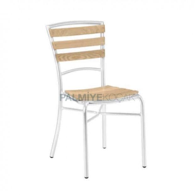 Wood Stick Aluminum Armless Chair