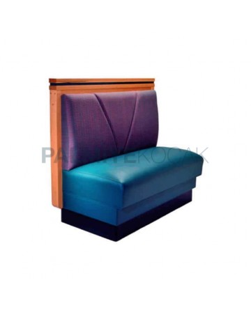 Wooden Frame Purple Blue Leather Upholstered Cafe Booths
