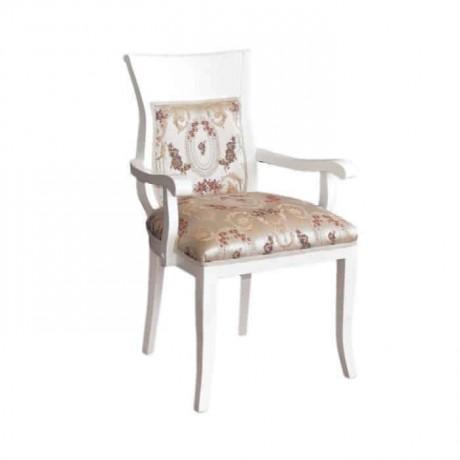Ahşap Klasik Beyaz Lake Kollu Sandalye - ksak02