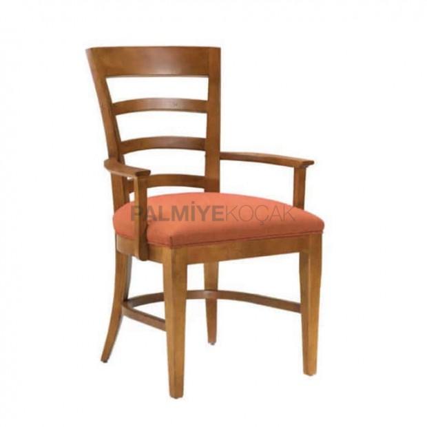 Ahşap Kollu Açık Eskitme Boyalı Restaurant Sandalyesi