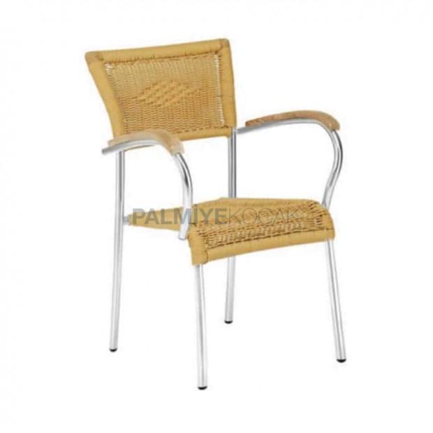 Ahşap Kollu Örgülü Alüminyum Sandalye