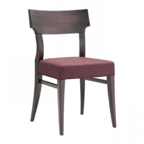 Ahşap Ceviz Renkli Mürdüm Kumaşlı  Restoran Sandalyesi - msag129