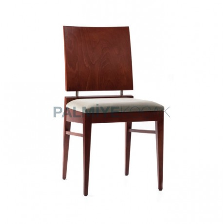 Natural Painted Lukens Leg Bordeaux Fabric Classic Wooden Chair