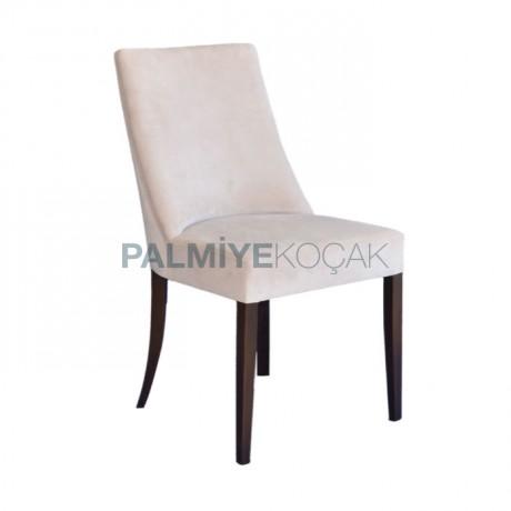Natürel Boyalı Lükens Ayaklı Bordo Kumaş Döşemeli Klasik Sandalye