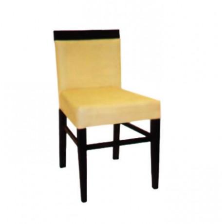 Ahşap Tepeli Bej Derili Modern Sandalye - msaf01