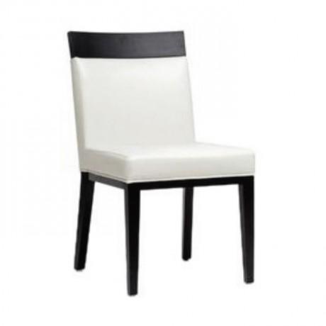 Wooden Headed White Leather Restaurant Chair - msag81