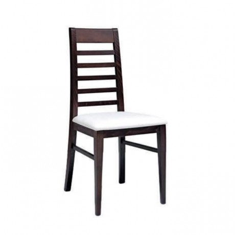 Ahşap Venge Boyalı Sırt Çıtalı Modern Sandalye - msag132