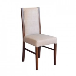 Beige Leather Wooden Modern Armchair