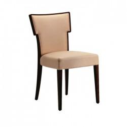 Beige Leather Upholstered Modern Restaurant Chair