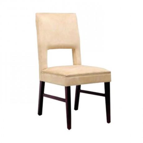Bej Deri Döşemeli Yemek Masası Sandalyesi - msad23