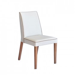 Beige Cord Piping White Leather Upholstered Wooden Armchair