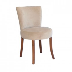 Beige Fabric Upholstered Round Armchair