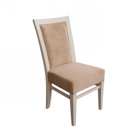 Beyaz Boyalı Bej Kumaşlı Otel Sandalyesi - msaf22