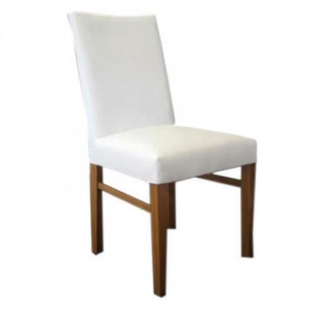 Beyaz Deri Döşemeli Ahşap Boyalı Sandalye - msad01