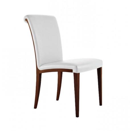 Beyaz Deri Döşemeli Eskitme Boyalı Modern Kafe Sandalyesi - msag92