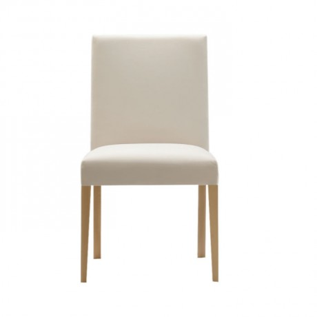 Beyaz Deri Döşemeli Gürgen Ahşap Modern Mutfak Sandalyesi - msaf36