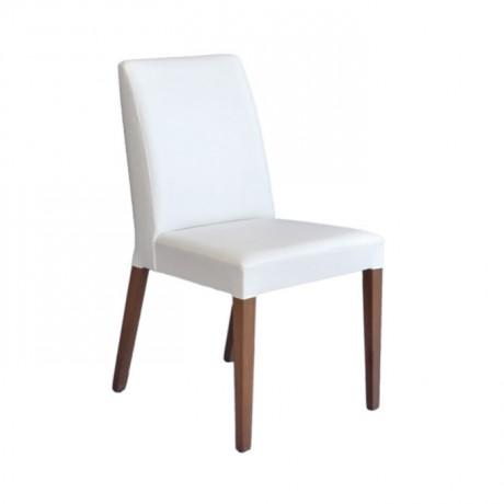 Beyaz Deri Döşemeli Otel Restoran Sandalyesi - msab231