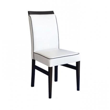 Beyaz Deri Döşemeli Siyah Fitilli Cafe Sandalyesi - msab244