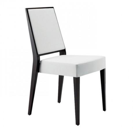 Beyaz Deri Döşemeli Venge Boyalı Restoran Sandalyesi - msaf26