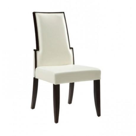 Beyaz Deri Döşemeli  Vengo Boyalı Modern Sandalye - msag139
