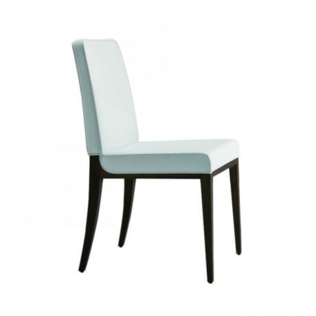 Beyaz Derili Venge Boyalı Yemekhane Sandalyesi - msag67