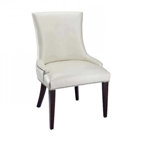 Beyaz Derili  Yarım Kollu Siyak Ayaklı Sandalye - msag127