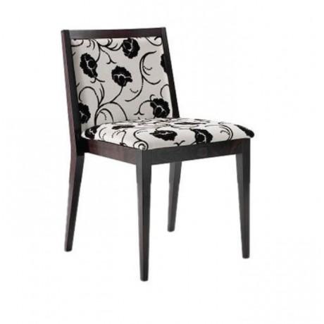 Beyaz Desenli Kumaşlı Modern Restaurant Sandalyesi - msag105