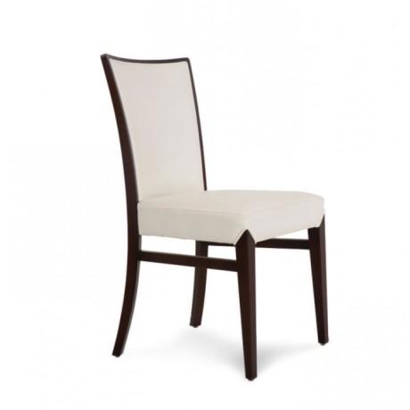 Beyaz Döşemeli Kayın Ahşaplı Modern Sandalye - msag11