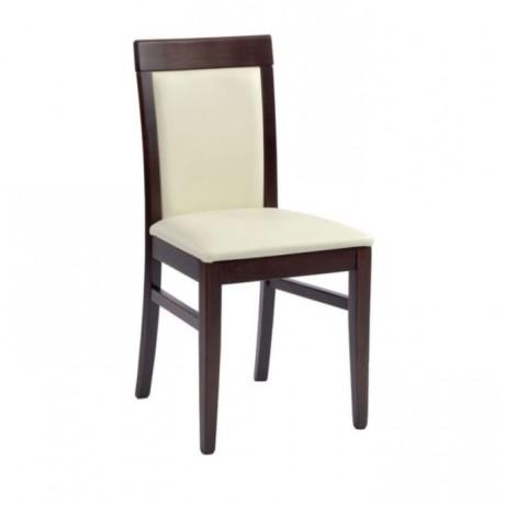 Beyaz Döşemeli Koyu Ahşap Boyalı Sandalye - msag14