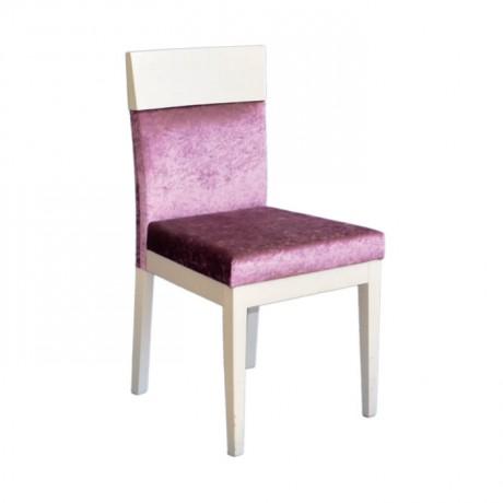 Beyaz Lake Boyalı Fusia Kumaş Döşemeli Modern Sandalye - msaf48