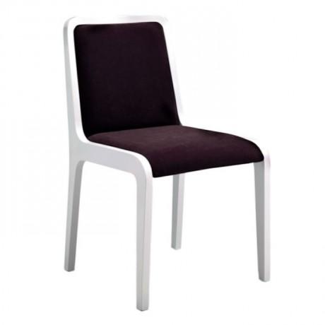 Beyaz Lake Boyalı Mürdüm Kumaşlı Modern Sandalye - msag77