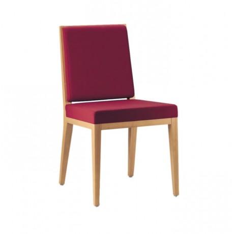 Bordo Kumaşlı Natural Boyalı Ahşap Modern Restaurant Sandalyesi - msag89