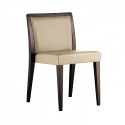 Leather Upholstered Polished Wooden Restaurant Cafe Chair